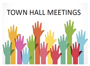 town hall meeting logo with raised hands