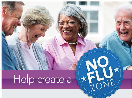 image of three seniors with text %22Help create a No Flu zone%22