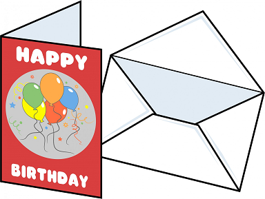 birthday card w/ envelope