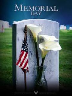Memorial Day - gravestone, flag, lilies