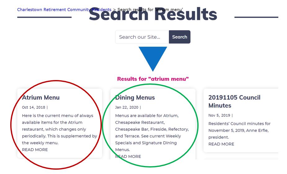Results for atrium menu search