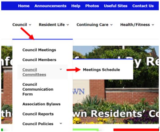 council dropdown menu